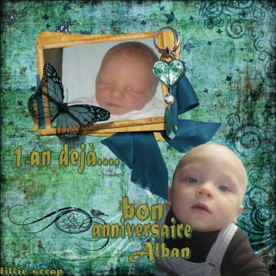bon anniversaire à mon filleul Alban que j'adore!