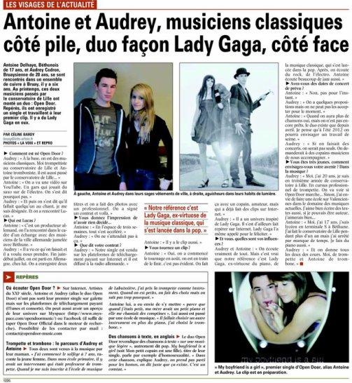 Article LA VOIX DU NORD edition Bruay-la-Buissière sur OPEN DOOR !