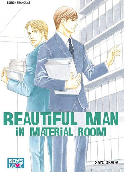 Beautiful man in material room