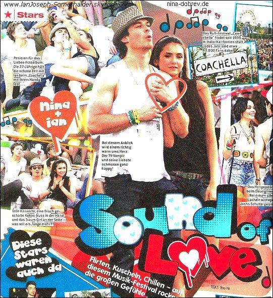 """Scan inédit de Ian et Nina dans le magazine Bravo lors de leur apparition au festival de musique """" Coachela """"  ."""