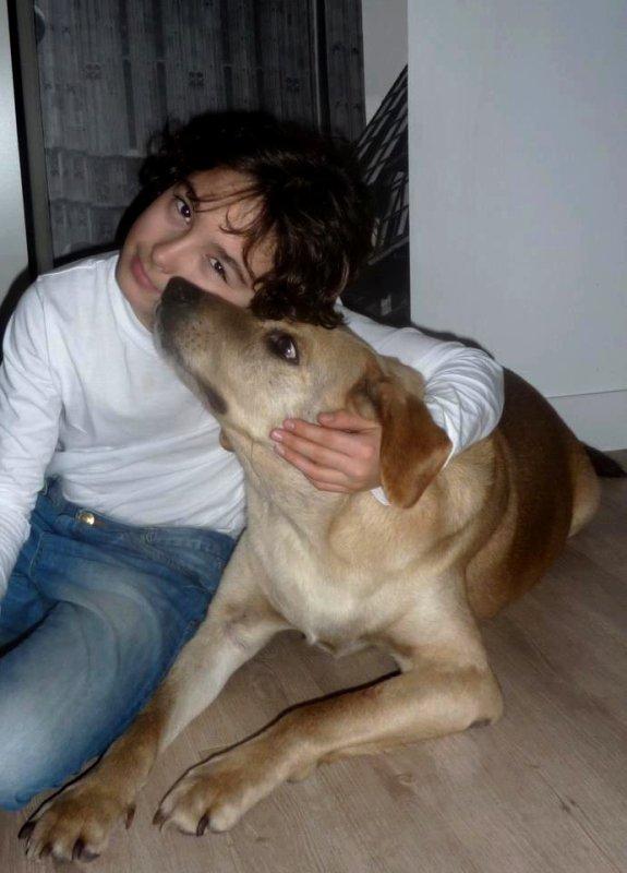 Célestin Chapelain avec son chien