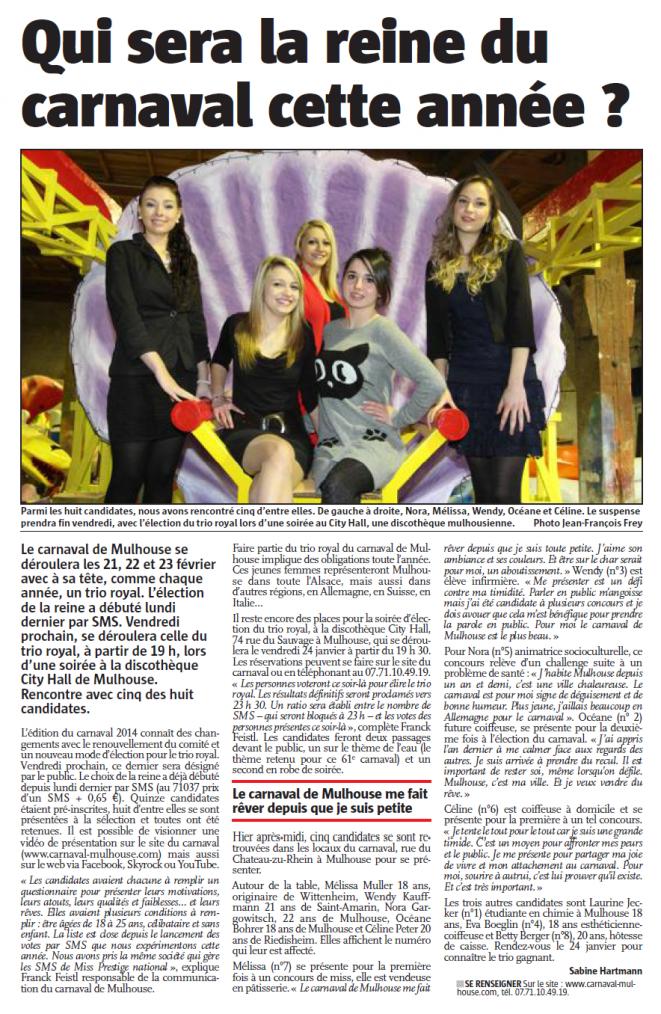 Qui sera la reine du carnaval cette année ? Article du Journal l'Alsace du dimanche 19 janvier 2014.
