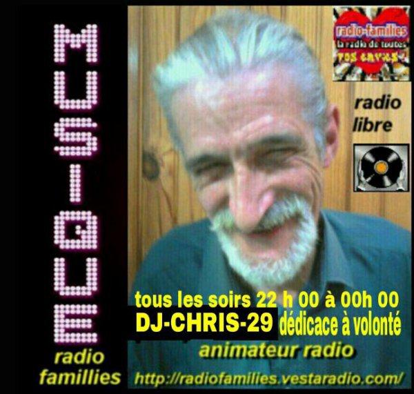 je me présente en quelques mots nom christian ,surnom (DJ-chris) (pinpin29)- animateur radio sur  http://radiofamilies.vestaradio.com/ toute une équipe et moi même vous attendent de 18h a 00h00 a voir les horaires