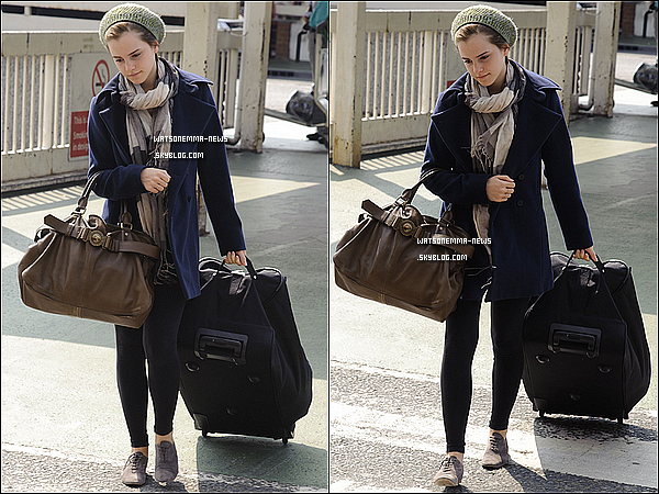 ". 24/04/11 : Emma a été vue a l'aéroport d'Heathrow pour prendre un vol en direction des USA, pour le tournage de son nouveau film qui debutera le 10 mai, ""The Perks Of Being A Wallflower"" ."