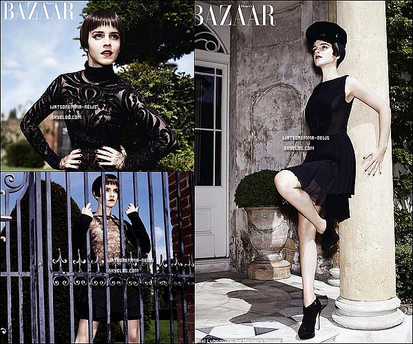 """. Emma, magnifique en couverture du magazine Harper Bazaar' pour le mois d'aout ! . Alors, dans ce que j'ai pu comprendre, Emma représente deux côté d'elle même sur ce photoshoot. Un coté """" vilain """", ou elle porte une perruque brune, et un coté """" gentil """", ou on la voit dans un champ.Je trouve que ce shoot est très bien fait, tous le monde a un peu un côté ange/démon, donc il nous représente.  ."""