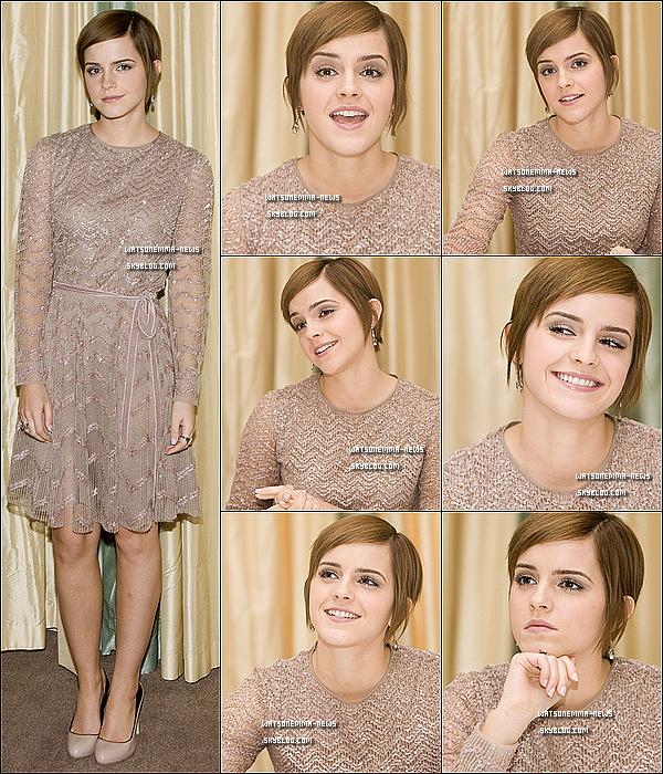 . Avant l'avant première d'HP auquel Emma a assisté, elle a participé à une autre conférence de presse ! . Même si je n'aime pas vraiment sa robe rose pâle, Emma était belle, et comme toujours souriante.  + Emma devrait s'envoler ce week-end vers les Etats-Unis, ou elle fera la promotion de Harry Potter 7 !   .
