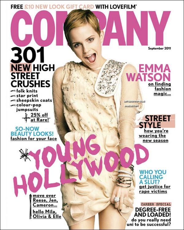 """. Emma Watson apparaissant en couverture du magazine 'Company', pour le mois de Septembre ! Elle y a notamment confié le désir d'être un jour maman. Sur sa future famille : «J'ai des valeurs familiales très fortes et j'ai vraiment l'espoir de ce que sera mon avenir. Je ne peux pas attendre d'être une maman et avoir ma propre famille un jour. """" ."""