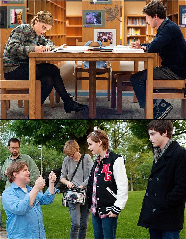 """. Découvrez les deux premières photos pour le nouveau film de Emma, """"The Perks of Being a Wallflower"""" ! Ça fait tellement bizarre de la voir dans un autre rôle... En tous cas j'adore sa coiffure ! ^^  ."""