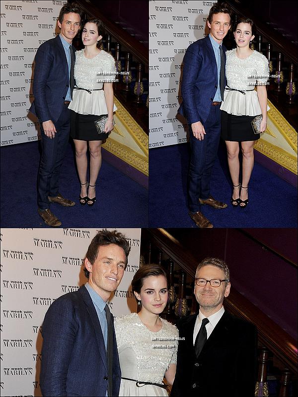 . 20/11 : Emma présente à la première Londonienne de My Week With Marilyn, avec ses co-stars! Franchement, j'adore et j'adhère! Emma est très naturelle, et je trouve que sa robe lui va très bien. Elle est rayonnante. .