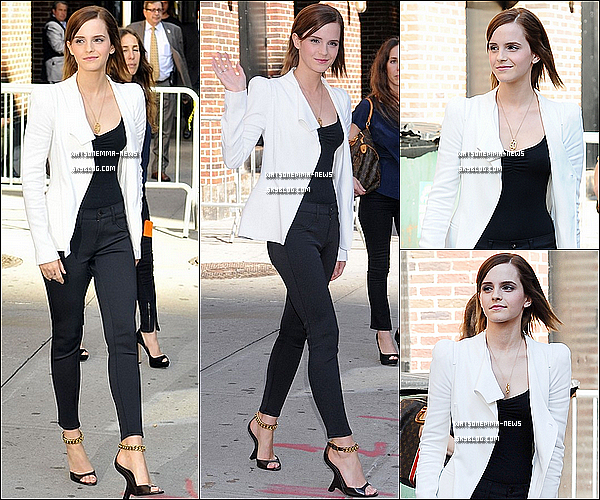 . 9 septembre : Emma était dans l'émission de David Letterman, ''The Late Show'' à New York! Elle était superbe! Franchement j'aime beaucoup sa tenue, c'est classe et vraiment chic, ça lui correspond parfaitement! .