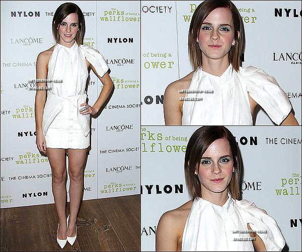 . 13 septembre : Emma était présente à l'Avant Première de 'Perks of Being a Wallflower' à NY! Elle est sublime! J'aime beaucoup sa robe blanche, ça lui va bien! (La manche est de trop par contre..). Et sa coupe de cheveux est super! .