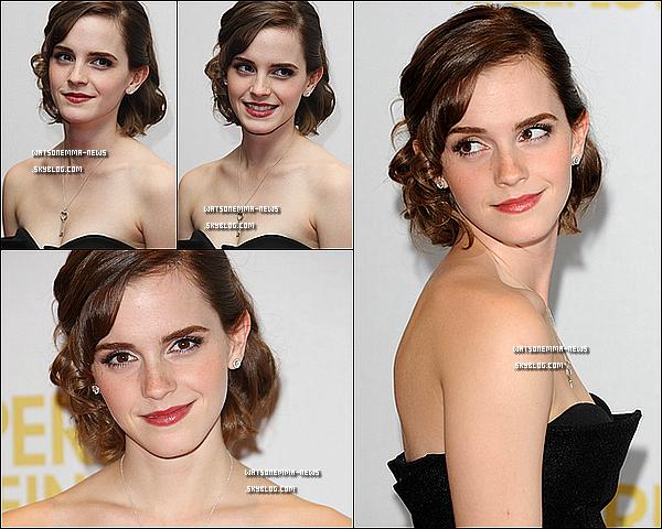 . 26 septembre : Emma était présente à la première de 'Perks of Being a Wallflower' à Londres! Je ne suis pas vraiment fan de sa tenue, ça aurait été mieux sans le pantalon, donc bof. Sans faute au niveau du makeup et de la coiffure! .