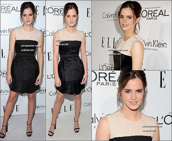. 15 octobre : Emma était à Hollywood à la soirée des 'ELLE's 19th Women '! Elle a reçu un prix pour avoir été dans le magasine ''Elle's''. Franchement, j'adore sa tenue, j'adore sa coiffure... Elle est juste parfaite! .