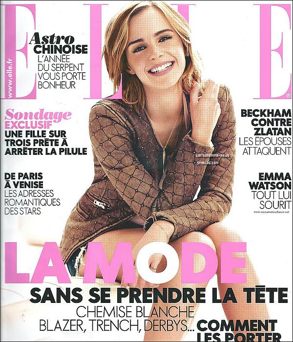 . Après un mois sans nouvelles, découvrez Emma faisant la couverture du ELLE France de Mars 2013! Je suis vraiment Fan de la couverture du magazine, elle est si belle! Sa tenue est magnifique en tout cas, et ses cheveux... Ouah!  .