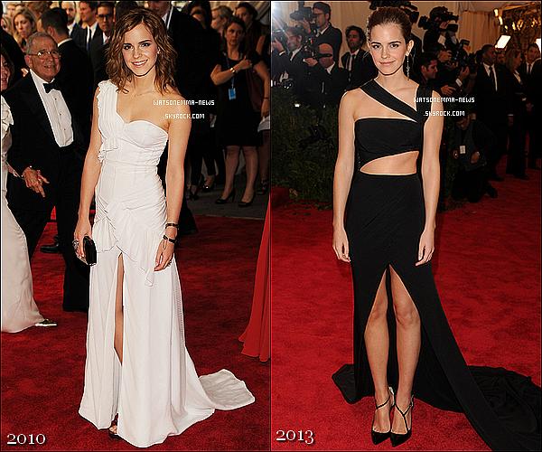. 06 mai : Emma était, pour la 2ème année, au MET Gala 2013 à New York, un grand événement! Comme vous pouvez le voir, les cheveux d'Emma sont devenus roux! J'aime bien... En tout cas TOP pour moi, sa robe est très belle!  .