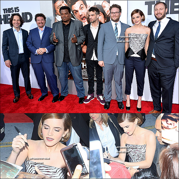. 02 juin : Emma était présente à la première de son film 'This Is The End', toute souriante et belle! J'aime sa tenue, c'est décalé et ça lui va bien! Elle a signé des autographes et posé avec ses co-stars !  + BA de TITE en fin d'article ! .
