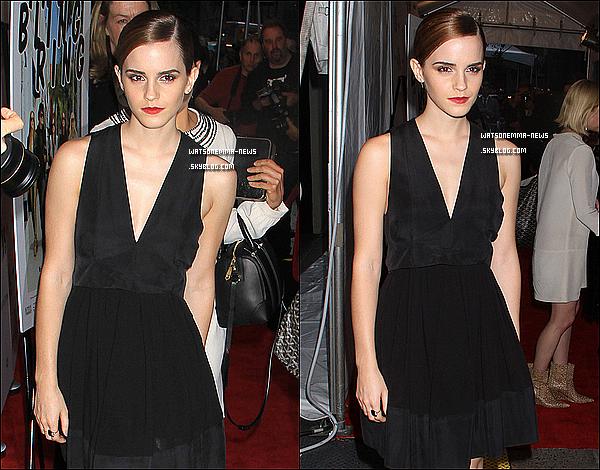. 11 juin : Emma Watson était à la première de The Bling Ring, cette fois-ci à New York City! Sa tenue est vraiment simple.. C'est joli, mais peut être que c'est trop simpliste pour moi. Et j'aimerais la voir les cheveux détachés!  .
