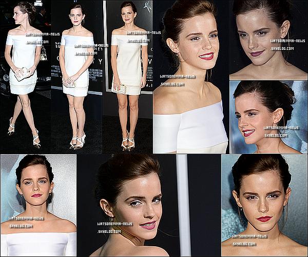 . Le 02/10 : Emma à la première New Yorkaise du film Gravity (Sandra Bullock, George Clooney) ! Emma tente pour une fois la simplicité, et ça reste réussi! Sa robe blanche lui va très bien, elle est très classe, et j'adore ses escarpins ! .