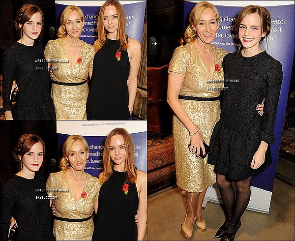 . Le 09/11 : Emma était à Leavesden pour soutenir l'association de J.K. Rowling, Lumos.  Voir ces photos m'a fait extrêmement plaisir. Cela montre qu'Emma pense toujours à l'univers des Harry Potter! Elle est magnifique.  .