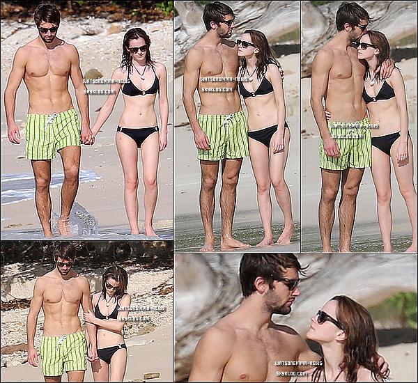 """. 09 janvier 2014 : Emma était en compagnie de son nouveau copain Matt Janney sur une plage des Caraïbes, en amoureux! Premier candids de la belle en l'année 2014 ! Je la trouve adorable avec son copain, elle a l'air heureuse avec lui, ça fait plaisir !  . Mais ou est donc passé Will, son """"ancien"""" copain ? Et bien, Emma et Will ont rompus depuis cet été. La raison serait l'emploi du temps très chargé de l'actrice. Néanmoins, peu avant l'annonce officielle de la rupture, des photos montrant Will avec ce qui semblerait être de la drogue sont apparus sur Facebook. Serait-ce pour cela qu'ils ont rompus ?  . Emma a si rapidement un nouveau copain ? Comme annoncé ci-dessus, la nouvelle vient juste de tomber, mais Emma et Will seraient donc séparés depuis juillet 2013. Cela fait donc 6 mois qu'elle était célibataire, donc cela n'est pas si rapide.  . Mais d'où sort ce Matt Janney ? Il a 21 ans et il joue pour l'équipe de Rugby de l'université d'Oxford et étudie les langues modernes. Une source à confié au Daily Mirror « C'est encore frais mais ils sont très bien ensemble. Matt a un véritable succès auprès des filles mais pourrait bien avoir rencontré son âme-s½ur. Emma n'aime pas les idiots mais Matt est un gars vraiment charmant et intelligent. Ils forment un beau couple ».  ."""