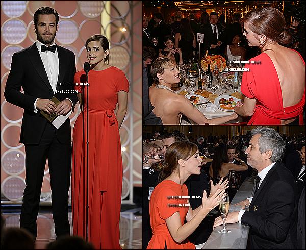 . Le 12/01 : Emma était au Golden Globes 2014 au Beverly Hilton ! Elle a notamment remis un prix aux cotés de Chris Pine. (J'ai un petit problème avec le premier montage : J'en suis désolée.) J'aime beaucoup l'originalité de sa robe ! Tout ce qu'elle porte est vraiment audacieux, donc je suis contente que cette audace se paye !  .