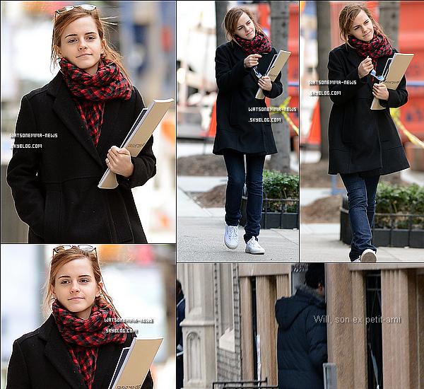 . 20 janvier : Emma a fait un passage éclair dans la ville de New York pour chercher un nouvel appartement ! Sur les lieux de son ancien appartement, son ex-petit ami Will était devant la porte (vétu d'une parka). .