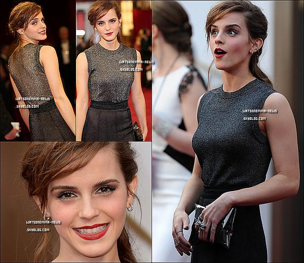. Le 02/13 : Emma était présente pour remettre un prix à la 86ème cérémonie des Oscars à LA ! Elle était magnifique, j'aime complètement sa coiffure et sa robe ! De plus, elle était toute souriante. Comme vous le voyez, elle a remis son prix avec l'acteur Joseph Gordon Lewitt.  .