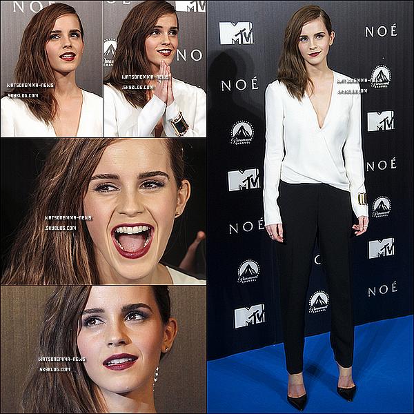 . 17 mars : Emma et ses co-star étaient à la première Espagnole de Noah, dans la capitale, Madrid ! J'adore sa tenue, je la trouve totalement classe ! Ses cheveux sur le côté, son make-up... Tout est parfait ! Elle semble vraiment heureuse !  .