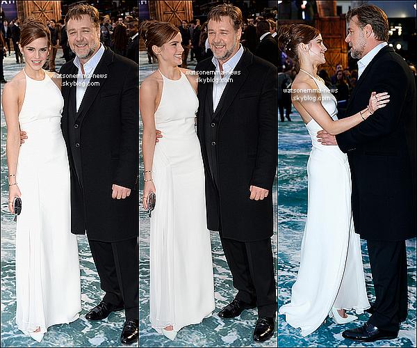 .  1er avril : Emma était présente à la première anglaise de Noé à Londres en compagnie de l'équipe ! La robe blanche qu'elle porte vient de Ralph Lauren. J'adore sa robe, c'est élégant.. Gros Top ! Elle pose avec Russel Crowe. .