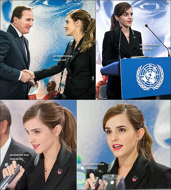 """. 23 janvier : Emma présente à Davos (Suisse) pour sa campagne HeForShe pour l'égalité des sexes ! Emma a de nouveau pris la parole pour un discours devant l'assemblée ! . Voici quelques unes de ses paroles : """"J'ai été étonnée par le nombre d'hommes dans ma vie qui m'ont contactée depuis mon discours à l'ONU. Pour me dire de continuer, et me confier espérer que leur fille soit encore en vie pour voir un monde où les femmes ont le pouvoir et l'égalité économique et politique"""" . Mon avis : Je suis fière d'Emma. Elle se trouve aux côtés du Secrétaire général de l'ONU, du premier ministre suédois et du président du Rwanda, et elle n'a pas l'air impressionnée. Elle appartient désormais au monde de la politique, elle essaye de faire changer les choses. Vous pouvez voir son émotion vers le milieu de la vidéo, alors qu'elle parle de l'un de ses fans, qui s'est sorti de la violence grâce à son ancien discours. Je suis de plus en plus fan d'elle. Je ne savais pas que ça pouvait être possible. ."""