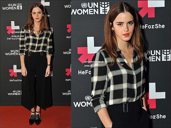 """. 08 mars 2015 : A l'occasion de la journée de la femme, en ce 08 mars, Emma a organisé un question/réponse sur le programme HeForShe dont elle est l'ambassadrice. Elle était naturelle, et très joyeuse. Ça se voit qu'elle est passionnée par l'égalité des sexes. En tout cas, j'aime sa tenue. Simple et joli.  . """"Si l'égalité des sexes n'est pas atteinte de mon vivant, je refuse de mourir."""" - Emma Watson ."""