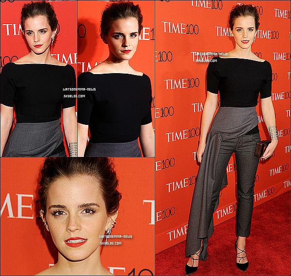 . 21 avril : Emma était présente à la soirée organisée par le magasine Time puisqu'elle fait partie des 100 personnes les plus influentes dans le monde (6ème position) Même si j'aurais préféré qu'elle s'habille avec une jolie robe, j'adore sa tenue. C'est simple et très classe, ça lui va parfaitement !  .