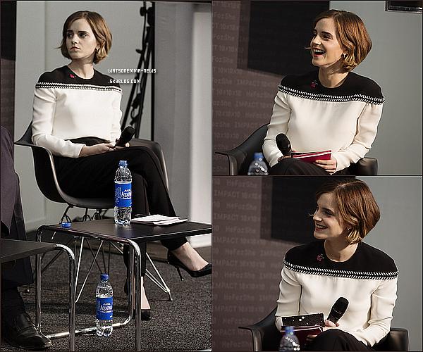 """. 22 janvier : Emma était présente au Forum économique international de Davos, en Suisse, pour représenter son engagement pour sa campagne HeForShe. Elle était sur scène pour interviewer plusieurs chefs d'entreprise. La question était : """"Qui sont les hommes derrière HeForShe ?"""" ."""