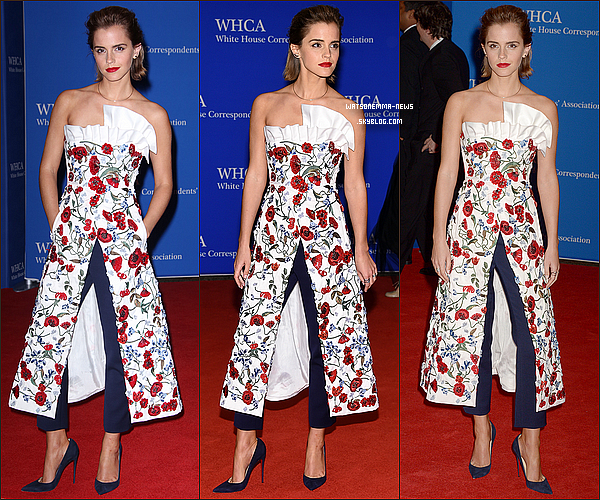 . 30/04 : Emma était l'invitée de Barack Obama au dîner des Correspondants de la Maison Blanche Je ne suis pas fan de sa coiffure mais j'aime bien sa robe ! Elle était accompagnée d'un ami et semblait bien s'amuser !  .