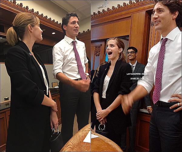 . 28/09 : Emma était au One Young World, un sommet annuel pour les jeunes leaders de demain. Elle a été accueilli par Justin Trudeau, le premier ministre du Canada, avec qui elle a parlé de l'importance de l'égalité entre les sexes !  .