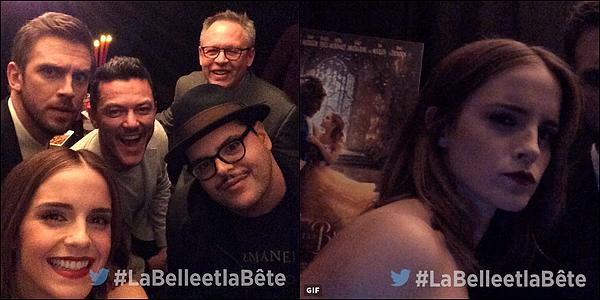 . 19 février : Emma était présente avec le casting de La Belle et la Bête à l'avant première à Paris du film ! J'aime beaucoup sa tenue ! Elle avait déjà utilisé ce grand ruban rouge autour de la taille, si je me rappelle bien ! J'adore ses cheveux.  .