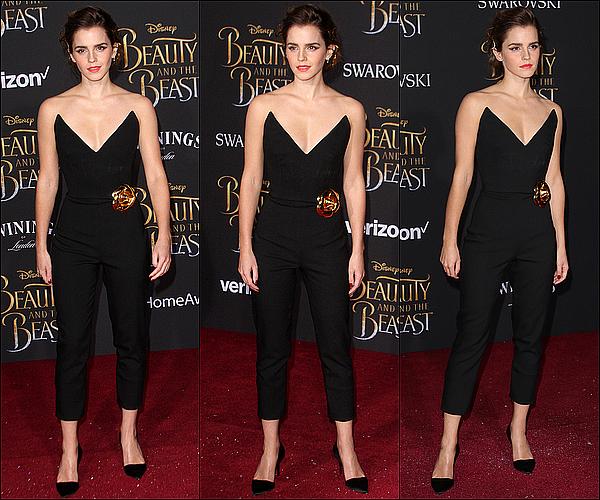 . 02 mars : Emma était cette fois à la première mondiale de La Belle et la Bête à Los Angeles ! Sa tenue, ainsi que celle de Dan Stevens, est parfaite ! Le noir lui va tellement bien... Elle était rayonnante, coup de coeur !  .