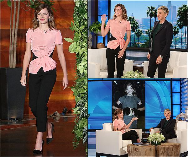 . 03 mars : Emma était présente à la célèbre émission The Ellen DeGeneres Show ! Elle a notamment parlé de son look lorsqu'elle était plus jeune ! J'adore sa tenue, le robe lui va extrêmement bien !  .