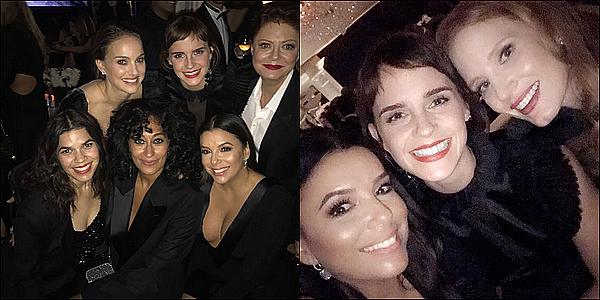 . 07/01 : Emma était à la 75ème cérémonie des Golden Globes avec la réalisatrice Marai Larasi ! Elle portait une robe noire pour soutenir le mouvement Time's Up. Elle a aussi présenté un prix avec Robert Pattinson.  .