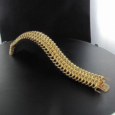 RARE Bracelet en or maille ronde ajourée