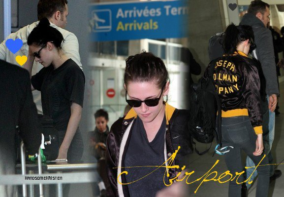 2. Kristen at LAX airport & Paris airport - 29.01.12