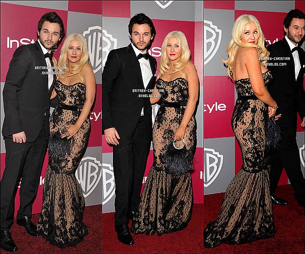 16/01/11   C'est une Xtina ravissante qui était à la 68ème cérémonie des Golden Globes. (Video)   Elle s'est ensuite rendu à la soirée oganisée pas InStyle & Warner Bros, à Beverly Hills, toujours accompagnée de Matthew.