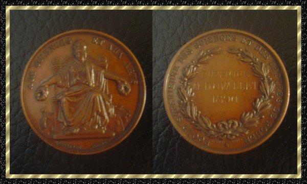 ۞ Médaille française en cuivre des Sciences et des Lettres de Rouen, 1890 ۞