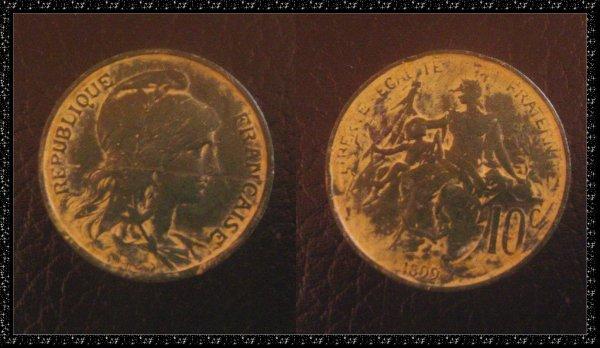 ۞ Pièce de monnaie française, 1899 ۞