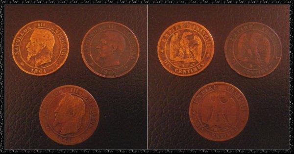 ۞Pièces de monnaie françaises, Napoléon III (1856-1861-1865) ۞