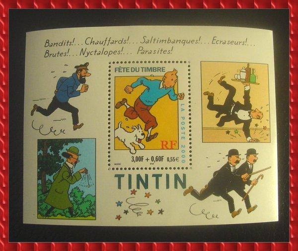 """۞ Bloc-Feuillet : Fête du Timbre """"Tintin"""", 2000 ۞"""