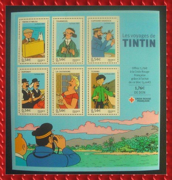 ۞Bloc-Feuillet : Les Voyages de TINTIN, 2007 ۞