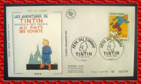 ۞ Enveloppes Tintin Premier Jour de la Fête du Timbre ( 11 mars 2000) ۞