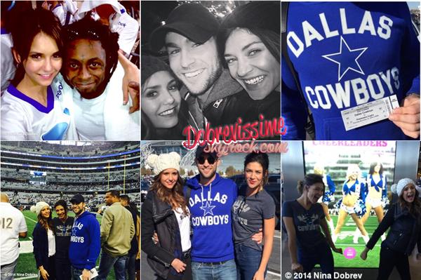 27.11.14 :Friendsgiving au Cowboys Stadium avec Jessica Szohr et Chace Crawford ! Nina a célébré Thanksgiving avec des amis au Texas en allant soutenir les Dalls Cowboys contre les Philadelphia Eagles