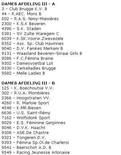 2012-2013 Séries D3A et D3B Dames - proposition
